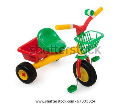 Tricycle - child pedal wheel cycling bicycle toy - stock photo