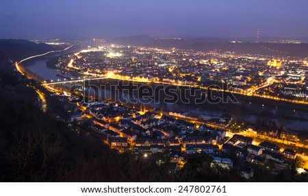 trier city in germany in the evening - stock photo