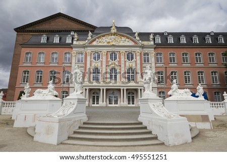 Trier, Germany - Aug 21, 2016: View of the Electoral Palace of Trier. The Palace directly next to the Basilika is considered one of the most beautiful rococo palaces, constructed around 1600s.