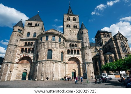 TRIER, GERMANY - July13, 2010: Cathedral of Trier. Trier lies in a valley between low vine-covered hills of red sandstone in the west of the state of Rhineland-Palatinate.