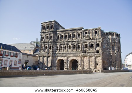 TRIER,GERMANY-JULY 19,2014: View on Porta Nidra-Antique roman city gate in Trier,Germany on 19 July 2014.It is designated as part of the roman monuments, in Trier Unesco world heritage site.