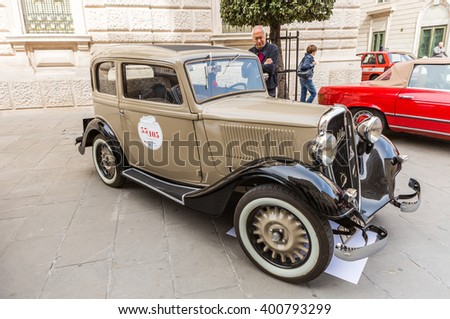 TRIESTE, ITALY - APRIL 3: Fiat Balilla  on APRIL 3, 2016. Trieste Opicina Historic is regularity run for vintage and classic Cars.