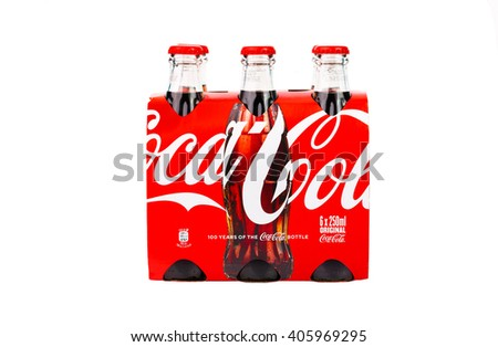TRIESTE,ITALY -April 14, 2016, Package of six glass bottles of Coca-Cola Classic.Isolated on white Background. Coca Cola, Coke is the most popular carbonated soft drink beverages sold around the world