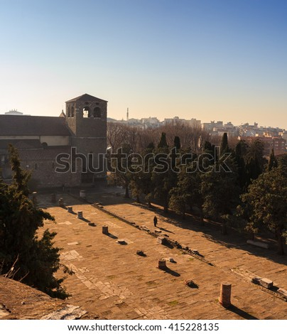 TRIESTE, ITALY - DECEMBER, 20: View of the St. Giusto cathedral and roman ruins on December 20, 2015 - stock photo