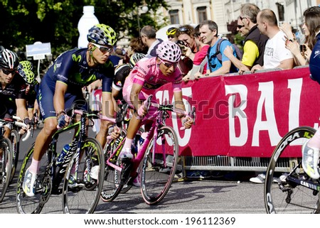 "TRIESTE, ITALY - JUNE 1:The winner Nairo Quintana wearing pink jersey during  the  final stage of ""Giro d'Italia 2014"" on 1st june 2014 in Trieste, italy"
