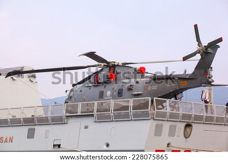 TRIESTE, ITALY - NOVEMBER, 02: View of helicopter on the the Frigata Virginio Fasan the Italian Navy on November 02, 2014 - stock photo