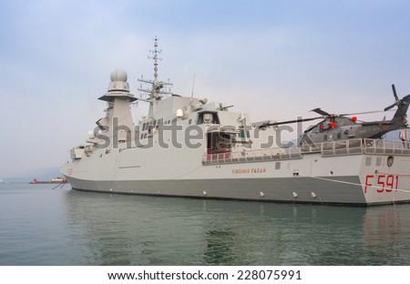 TRIESTE, ITALY - NOVEMBER, 02: View of the Frigata Virginio Fasan of the Italian Navy on November 02, 2014 - stock photo