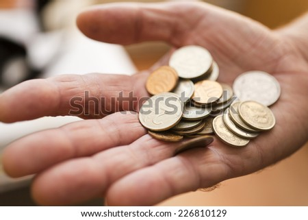 Trifle in a hand the only thing that is at the person - stock photo