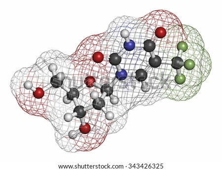 Trifluridine (trifluorothymidine, TFT) antiviral drug molecule. Atoms are represented as spheres with conventional color coding: hydrogen (white), carbon (grey), oxygen (red), nitrogen (blue), etc - stock photo
