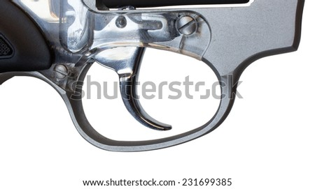 Trigger on a revolver that is not textured isolated on white - stock photo