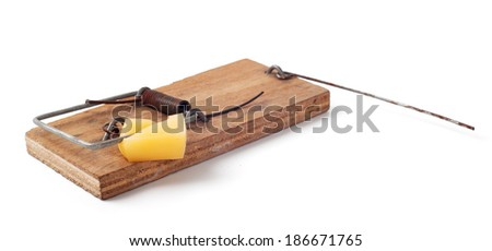 Triggered mousetrap isolated on white - stock photo