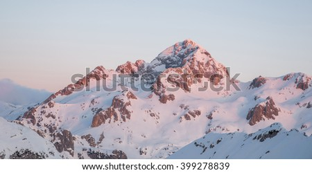 Triglav mountain in the first morning sun