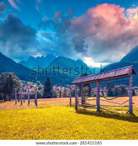 Triglav mountain range, view from the Gozd Martuljek village, Julian Alps, Slovenia. - stock photo