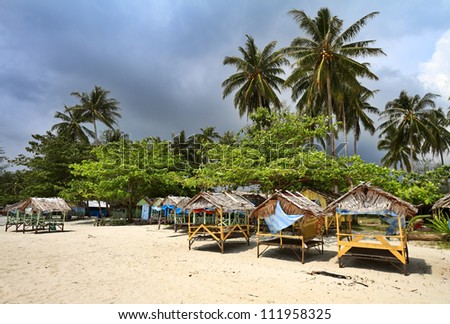 Trikora Beach is the most popular beach for relaxation of local population. - stock photo