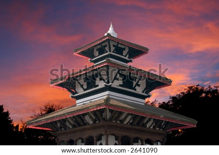 Trilokya Mohan Narayan temple located in Durbar Sqaure, Kathmandu. The temple was built in 1690 by Queen Mother, Riddhi Laxmi. - stock photo