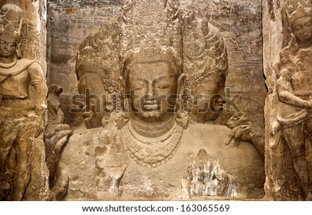 Trimurti sculpture at Elephanta Caves, Maharashtra, India