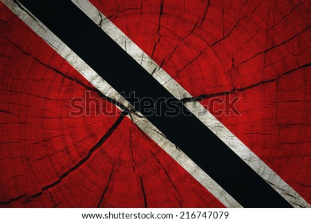 Trinidad and Tobago Flag painted on old wood background  - stock photo