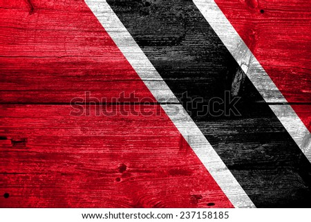 Trinidad and Tobago Flag painted on old wood plank texture