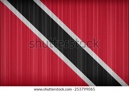 Trinidad and Tobago flag pattern on the fabric curtain,vintage style - stock photo