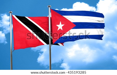 Trinidad and tobago flag with cuba flag, 3D rendering