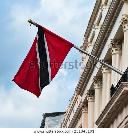 Trinidad and Tobago high commission London Flag outside building entrance - stock photo