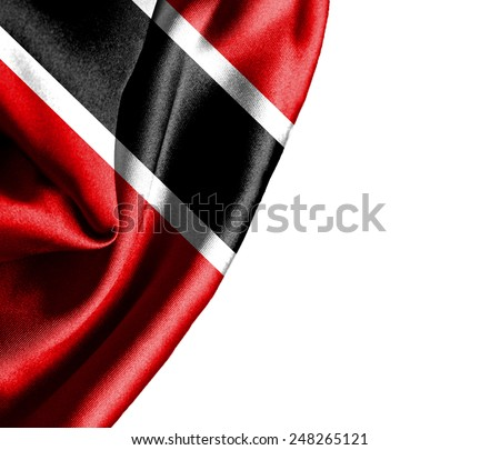 Trinidad and Tobago waving silky flag isolated on white background - stock photo