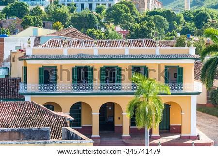 Trinidad de Cuba, Brunet Palace or Romance Museum. The village is a Unesco World Heritage and major tourist landmark in the Caribbean Island - stock photo