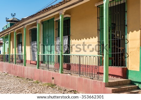 Trinidad de Cuba colonial architectural details. Multicolor vintage construction Trinidad is like an open air museum of the Spanish colony. The major tourist landmark is a Unesco World Heritage Site - stock photo