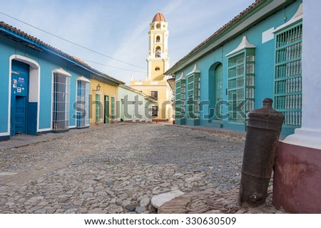 Trinidad de Cuba: The Plaza Mayor of Trinidad which functions as plaza and an open-air museum of Spanish Colonial architecture. The landmark is a Unesco World Heritage Site  - stock photo