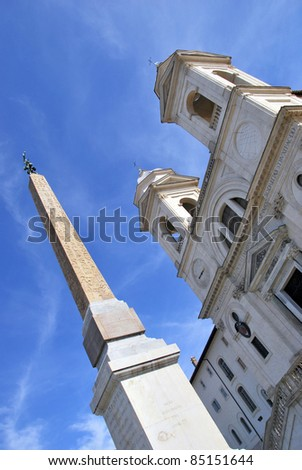 Trinita del Monti Church and obelisk in Rome. Piazza di Spagna. Italy. - stock photo
