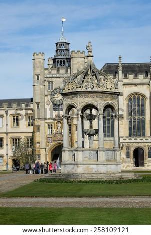 TRINITRY COLLEGE, CAMBRIDGE, ENGLAND-MARCH 2015 : Students around the campus in Trinity College, Cambridge England. Trinity College is one of the best college in Cambridge. - stock photo