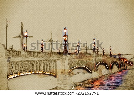 Trinity Bridge across the Neva in Saint Petersburg, Russia. Travel background illustration. Painting with watercolor and pencil. Brushed artwork. - stock photo