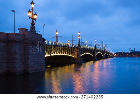 Trinity Bridge (Troitskiy Most) in Saint-Petersburg, Russia - stock photo