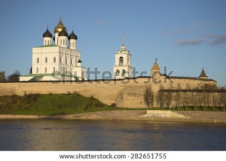 Trinity Cathedral and the Pskov Kremlin autumn evening - stock photo
