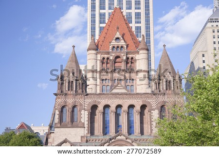Trinity Church in Copley Square designed by Hobson Richardson, Boston, MA., New England, USA - stock photo