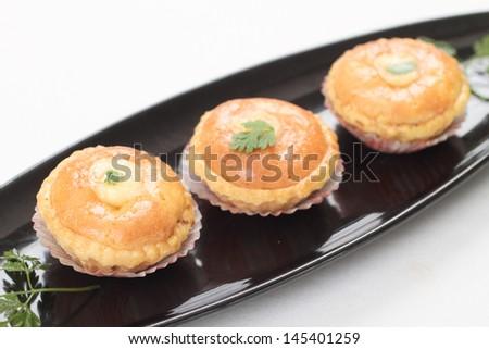 Trio of golden lamb pies - stock photo