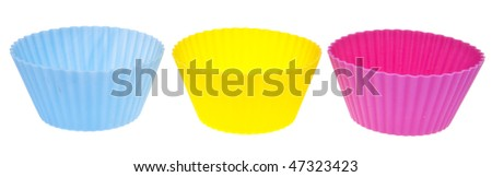 Trio of Vibrant Cupcake Wrappers Isolated on White.