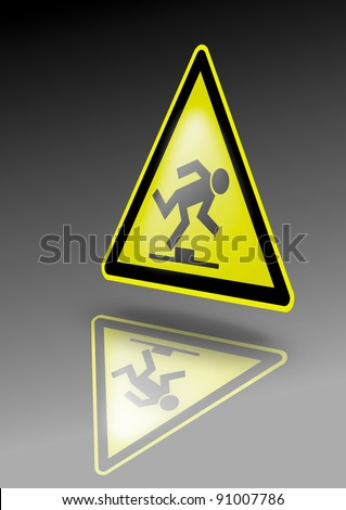Trip hazard warning sign. Stumble symbol on yellow triangle. Illustration for dangerous environment or special risks - stock photo