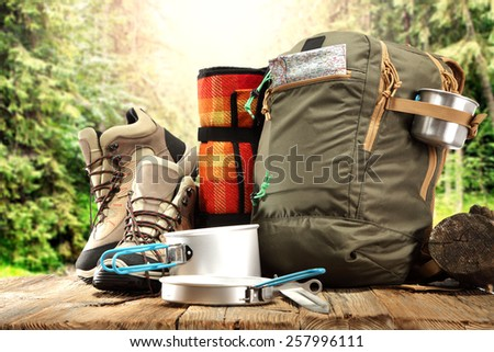 trip in forest  - stock photo