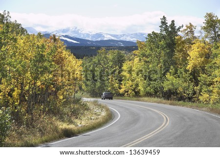 Trip on a jeep in mountain northern reserve - stock photo