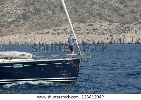 trip on a yacht - stock photo