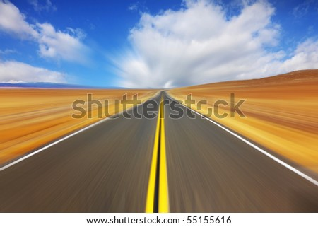 Trip on the American highway on high speed - stock photo