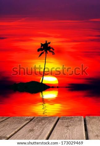 trip to a tropical island - stock photo