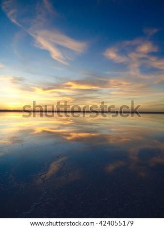 Trip to Uyuni Salt Lakes, Salar de Uyuni, in Bolivia - stock photo
