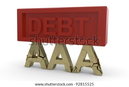 Triple A credit rating breaking under debt :3d illustration isolated on white background - stock photo