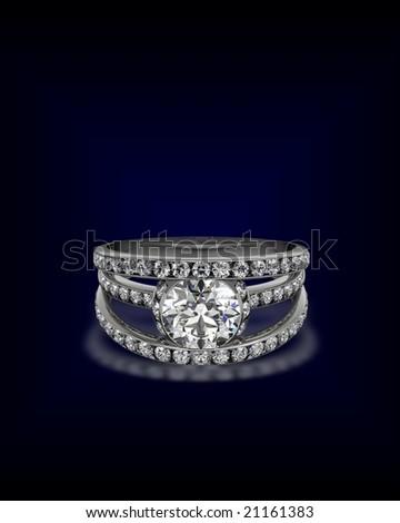 triple band diamond ring - stock photo