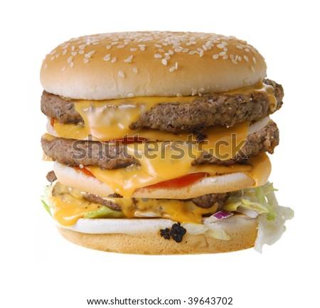 Triple cheeseburger isolated on white background - stock photo