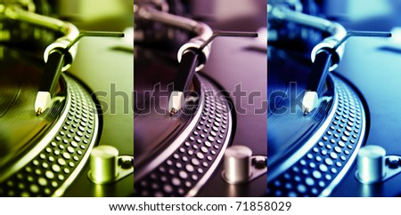 Triple collage of turntables plaing vinyl records with music in different colors - stock photo