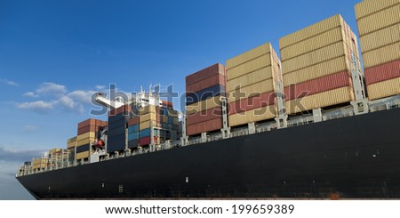 triple- E container ship leaving the port of Antwerp, Belgium - stock photo