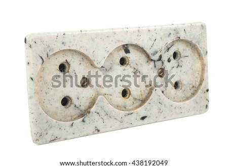 Triple electrical socket - stock photo